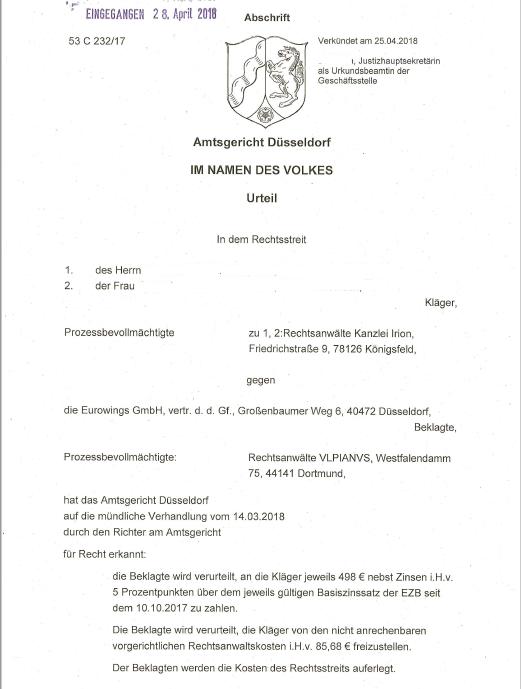 Eurowings Wilder Streik Air Berlin Kanzlei Irion Rechtsanwalt